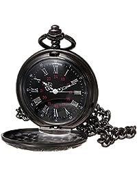 Black Pocket Watch Roman Pattern Steampunk Retro Vintage Quartz Roman Numerals Pocket Watch for Xmas Fathers Day Gift