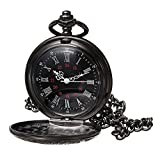 MJSCPHBJK Black Pocket Watch Roman Pattern Steampunk Retro Vintage Quartz Roman Numerals Pocket Watch (Black1)