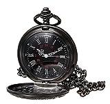 MJSCPHBJK Black Pocket Watch Roman Pattern Steampunk Retro Vintage Quartz Roman Numerals Pocket Watch
