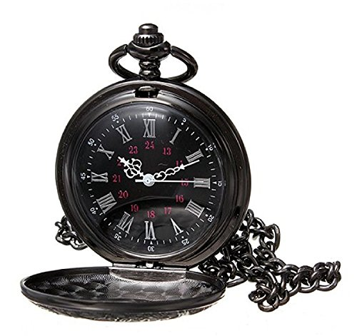 MJSCPHBJK Black Pocket Watch Roman Pattern Steampunk Retro Vintage Quartz Roman Numerals Pocket Watch for Xmas Fathers Day Gift]()