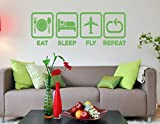 Eat Sleep Fly Repeat Kids Room Children Stylish Wall Art Sticker Decal G7524