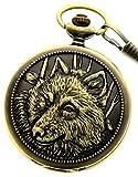 New Brand Mall Men's Retro Steampunk Engraved Wolfs Case Quartz Pocket Watch With Chain + Gift Box