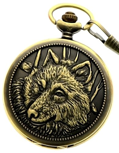 New Brand Mall Men's Retro Steampunk Engraved Wolfs Case Quartz Pocket Watch With Chain + Gift - Mall Hours Great Thanksgiving