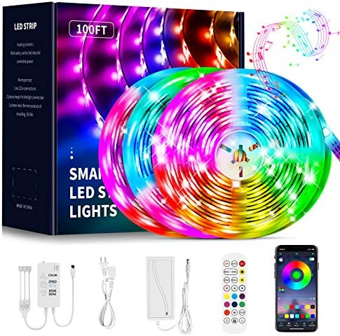 100ft LED Strip Lights,QINTIANL Led Light Strips Music Sync,Color Changing Led Lights Built-in Mic,Led Strip Lights Kit with APP and Remote Control,Bluetooth Led Lights for Bedroom