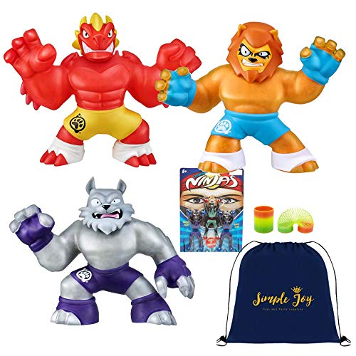 Stretchy Super Heroes (Heroes of Goo Jit Zu - 3 Pack of Super Stretchy Action Figures - Blazagon, Wolfpain,)