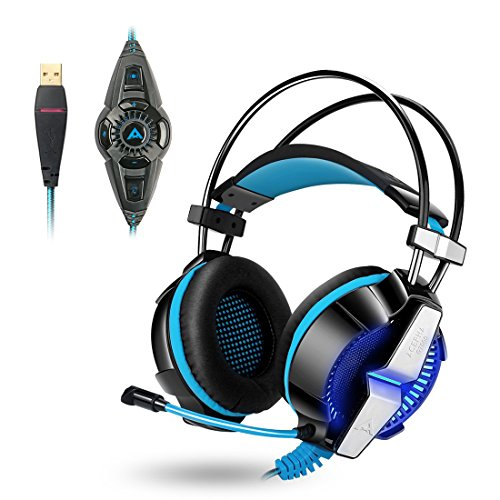 51275iEt0AL - ACEPHA PC Gaming Headset, 7.1 Channel Virtual Surround Sound with Mic, USB Wired with On-Cable Controls, Soft Earmuffs with Noise Cancelling, Lightweight Design, Black&Blue