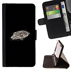 For Sony Xperia Z2 D6502 Millenium Falcoln Star War Spaceship Leather Foilo Wallet Cover Case with Magnetic Closure