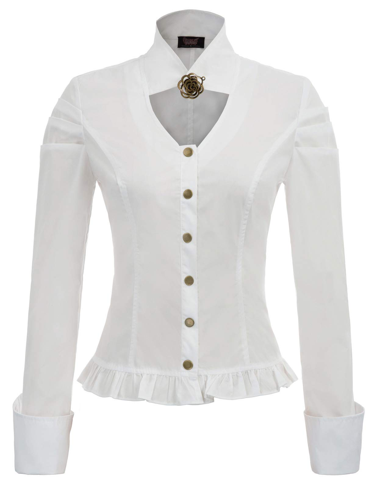 Women Vintage Steampunk Victorian Button Blouse 4