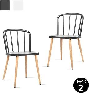 Mc Haus COLONNA - Pack 2 sillas comedor estilo nórdico color negro, silla moderna salón diseño dormitorio cocina escritorio 44x53,5x75,5cm: Amazon.es: Juguetes y juegos