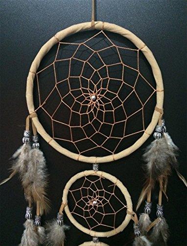 Dream Catcher -the traditional peacock feather color Dreamcatcher ~ 18cm diameter 45cm By SIMON (Beige)