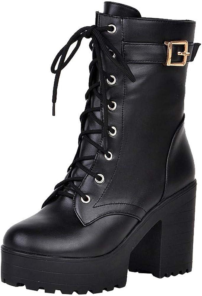 Zapatos con Cordones Mujer Botas Plisadas Botas Efecto Arrugado para Mujer Botines De Cuero Hebilla de Las Mujeres Martin Shoes Botas de Mujer Botas Altas Botines Botas Militares