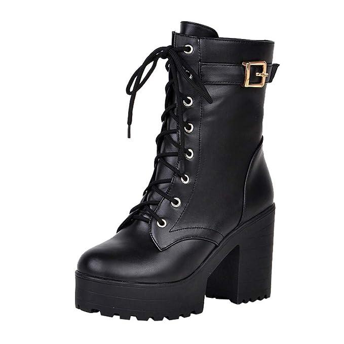 Zapatos con Cordones Mujer Botas Plisadas Mujer Botas Efecto Arrugado para Mujer Botines De Mujer De Cuero Hebilla de Las Mujeres Martin Shoes Botas de ...