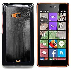 FOR Microsoft Nokia Lumia 540 N540 Queen Pattern - Forest Night Grey Dark Somber Rainy - Doble capa de armadura de la cubierta del caso del protector -