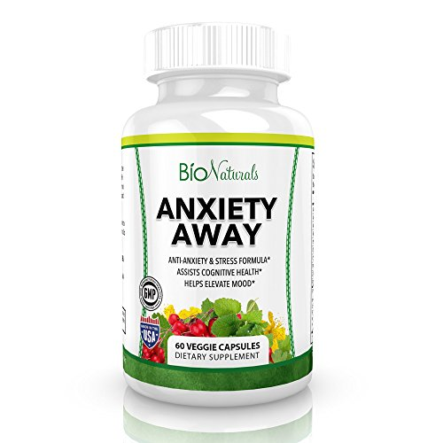 Anxiety Away Anti Anxiety & Stress Relief Supplement – Natural Herbal Blend with Ashwagandha, 5-HTP, Chamomile, Hawthorn & Valerian – Enhances Mood, Promotes Calmness & Relaxation – 60 Veggie Capsules