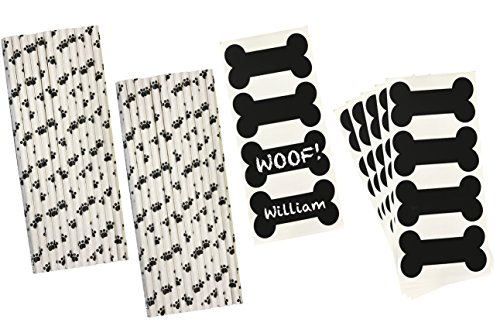 Dog Bone Vinyl Chalkboard Labels - Dog Paw Print Paper Drink