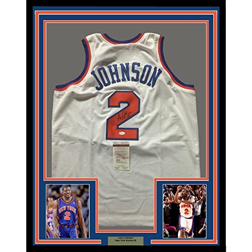 Framed Autographed/Signed Larry Johnson 33x42 New York Knicks White Basketball Jersey JSA COA