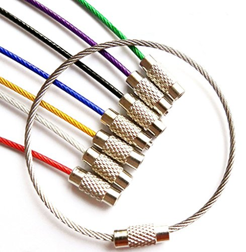 Mini Skater 7 Assorted Colors Durable Stainless Steel Wire Keychain Key Ring Cable Ring for Custom Personalized Luggage Name Metal Tag Travel Bag Suitcase