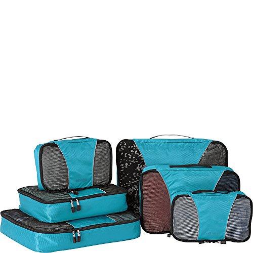 eBags Small/Medium/Large Packing Cubes for Travel - 6pc Sampler Set - (Aquamarine)