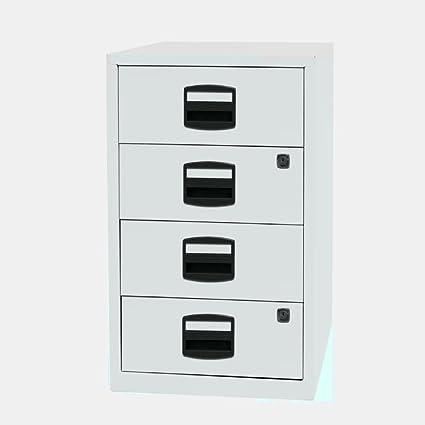 Archivador de 4 cajones, tamaño pequeño, color blanco, de metal, con cerradura, para oficina, vertical, estrecho, organizador de papel ...