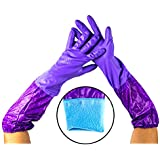 Warmtree Long Sleeve Rubber Latex Cleaning Gloves Kitchen Dishwashing Gloves,19.7 Inch, 1 Pairs, Purple