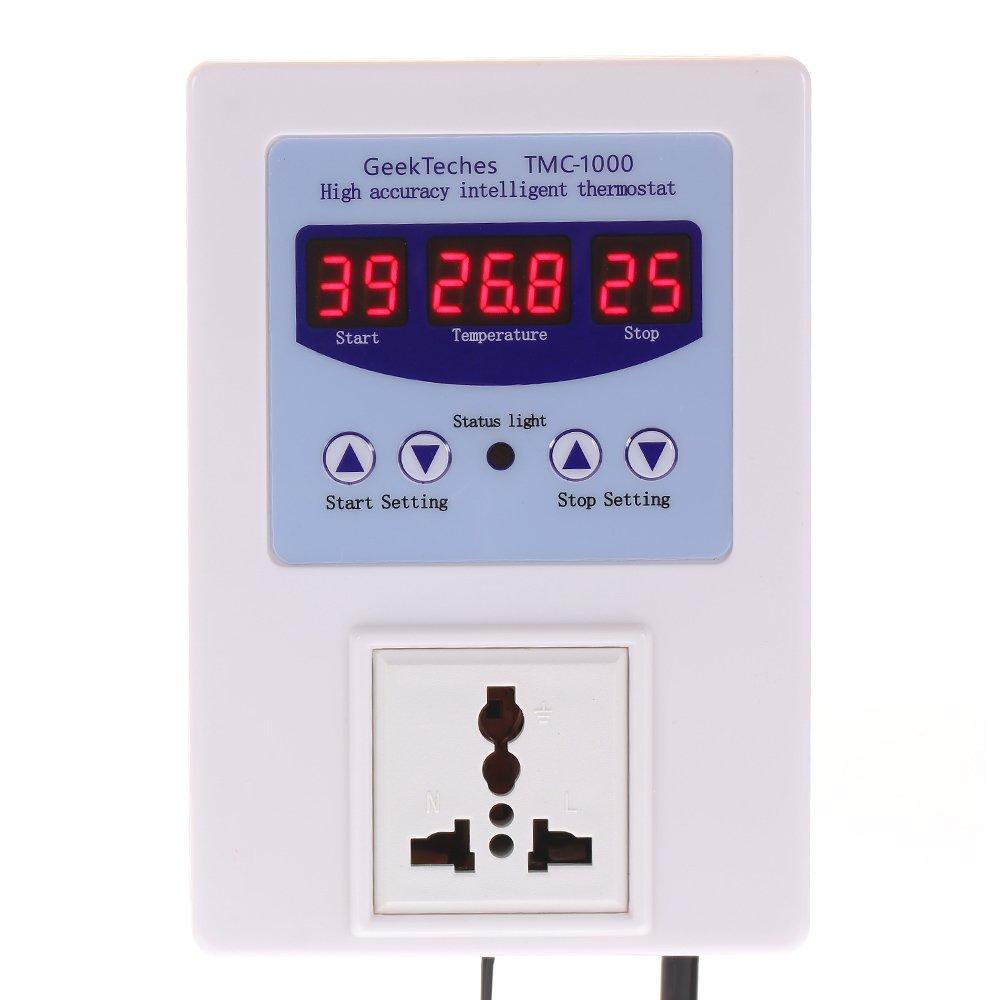 KKmoon Ac110-240V 10A/Led Digital Inteligente Pre Cableado Controlador de Temperatura Salida/con/Termostato Del Sensor Refrigeraci/ón Calefacci/ón Interruptor de Control