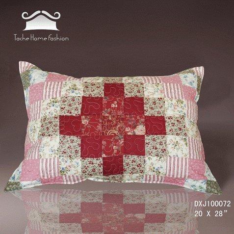 Tache 2 Piece 100% Cotton Floral Rustic Patchwork Sweetheart Diamond Decorative Accent Pillow Sham Cover