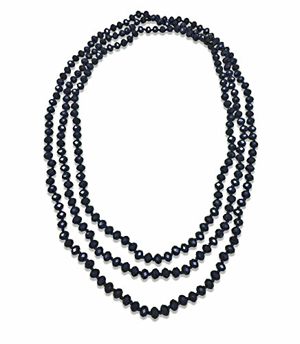 MGR MY GEMS ROCK! BjB 80-inch Long Endless Beaded Statement Crystal Necklace in Jet Black.