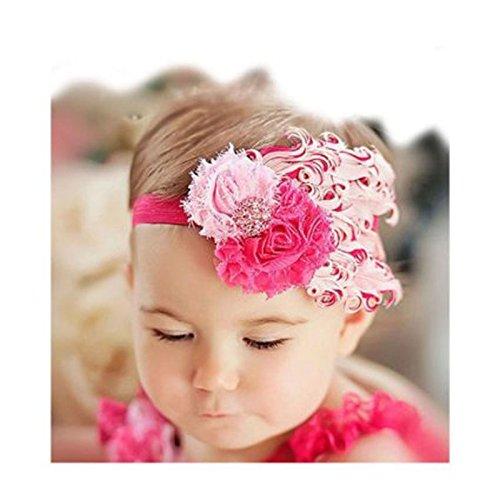 DDU (TM) 1 Pcs Rose et Rose-Belle Plume chef Porter Bandeau pour bébé nouveau-né Toddler Girls