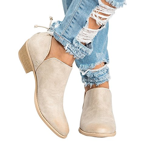 Booties up Cowboy Shoes Beige Zip Heel Ankle Poplover Low Pointed Western Toe Womens w1f4Zf