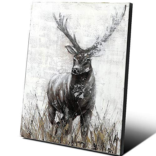 Hand-Painted Deer Paintings Wall Decor Reindeer Elk Antler African Wild Animals Contemporary Oil Painting Black & White Canvas Art Thick Paint Original Artwork Living Room Office Decorations 16 × 16'