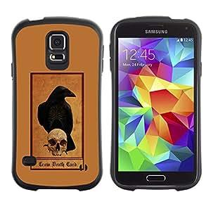 Be-Star Impreso Colorido Diseño Antichoque Caso Del Iface Primera Clase Tpu Carcasa Funda Case Cubierta Par Samsung Galaxy S5 SM-G900 ( grim reaper brown skull raven crow )
