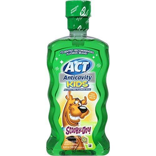 ACT Anticavity Kids Scooby-Doo! Kiwi Watermelon Alcohol Free Fluoride Rinse 16.9 FZ (Pack of 12)