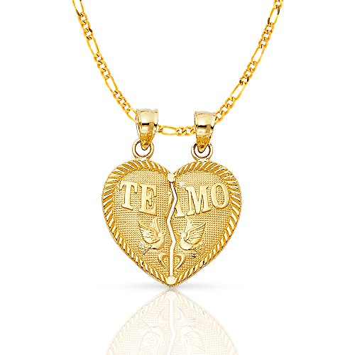 Ioka Jewelry - 14K Yellow Gold ''Te Amo'' Couple Broken Heart Charm Pendant with 2.3mm Figaro 3+1 Chain - 24'' by Ioka Jewelry