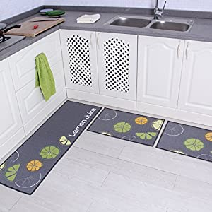 "Carvapet 2 Piece Non-Slip Kitchen Mat Rubber Backing Doormat Runner Rug Set (Brown 19""x59""+19""x31"")"