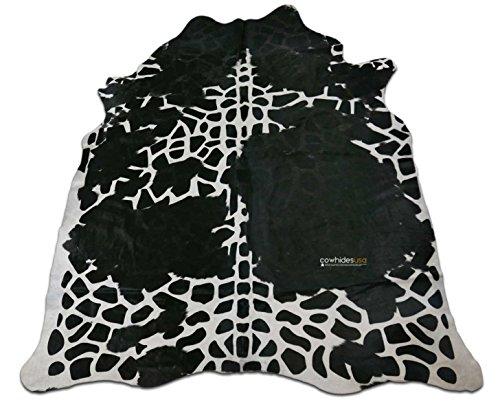 Giraffe Cowhide Print Rug: 7.4' X 6 'ft Black and White Print Cow Hide Rug i-866 ()