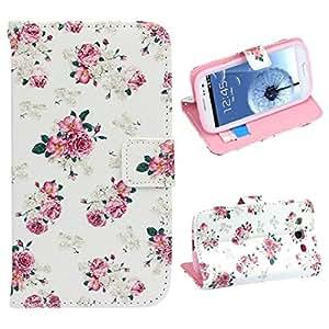 Chianrliu® Para Samsung Galaxy S3 i9300 Carcasa de Telefono Jacquard Floral Caso De La Cubierta Del Cuero Del TiróN Del Soporte De La Moda Rosa