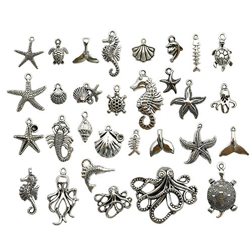 (Silver Marine Charm Collection-100g Craft Supplies Marine Life Seashell Charms Pendants for Crafting, Jewelry Findings Making Accessory For DIY Necklace Bracelet m72 (Silver Marine Charms))