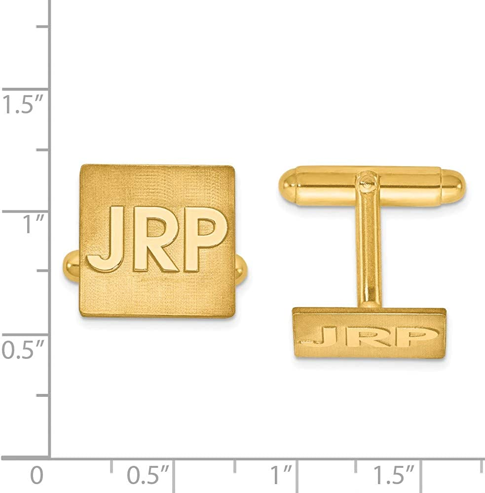 Raised Letters Square Monogram Cuff Links Personalized Custom Made in Gold-plated Sterling Silver from Roy Rose Jewelry