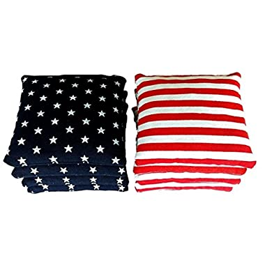 8 Standard Corn Filled Regulation Duck Cloth Cornhole Bags Free Expedited Shipping! 17 Colors Available (You Pick)!! (Stars/Stripes )