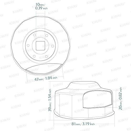Oil Filter Cap Wrench for Harley-Davidson Twin Cam 76 mm 14 Flutes (Crank Sensor) - By KiWAV by KiWAV (Image #4)