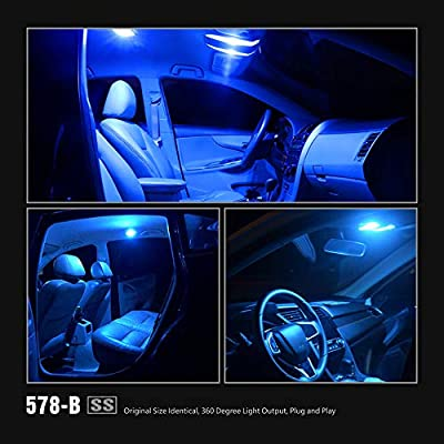 SIRIUSLED - SS 569 578 212-2 41MM LED 1.72'' Festoon Bulb for Car Interior, Dome, Courtesy, Door, Trunk, Cargo, Light with Cylinder Design Smooth Brightness Plug and Play Pack of 2 (Blue): Automotive