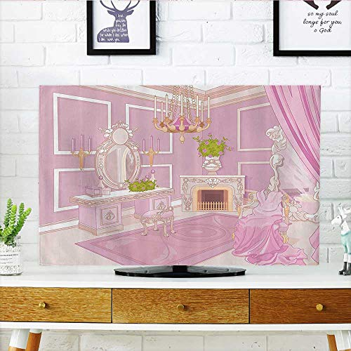 L-QN TV dust Cover Princess Dressing Room in Palace Luxurious with Chandelier Fireplace TV dust Cover W25 x H45 INCH/TV 47″-50″