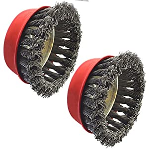 "Wire Cup Brush Wheel 100mm for 7"" or 9"" Angle Grinder Twist Knot 2Pk AT236"