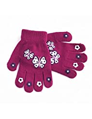 Childrens Girls Patterned Winter Magic Gloves (One Size) (Fuchsia With Butterflies)