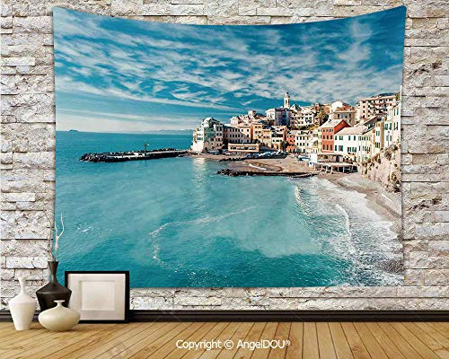 AngelDOU Farm House Decor Camping Tent Travel Mattress Tapestry Panorama of Old Italian Fish Village Beach Old Province Coastal Charm Image Polyester Thin Tapestry.W78.7xL59(inch)
