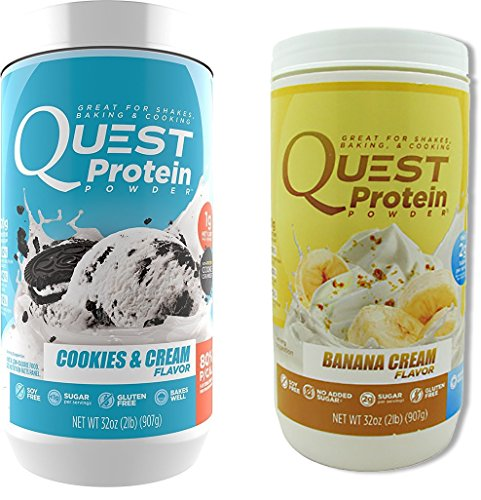 Quest Nutrition Quest Protein svLXJG Powder, Cookies and Cream/Banana Cream 2lb Tub (1 of Each) by Quest Nutrition