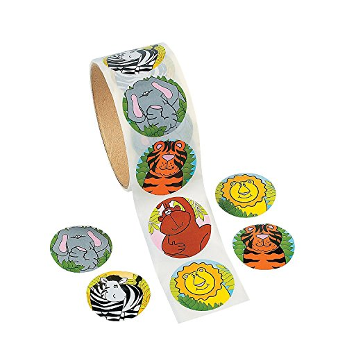 Zoo Animal Stickers Roll – 4 Rolls - 1.5 Inch Diam. - 400 Assorted Colors Animals Stickers – For Kids Great Party Favors, Fun, Gift, Prize Teachers, Tutors, Class Rewards – By Kidsco by Kidsco
