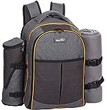 HapTim - 4 Person Picnic Backpack W Utensils Blanket Cooler