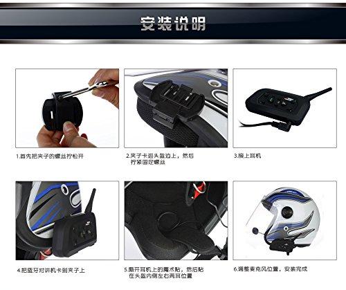 Helmet Wireless Bluetooth Intercom High-power Headset 6 Riders 1200m Waterproof Interphone 2 Pack by Eroboo (Image #7)