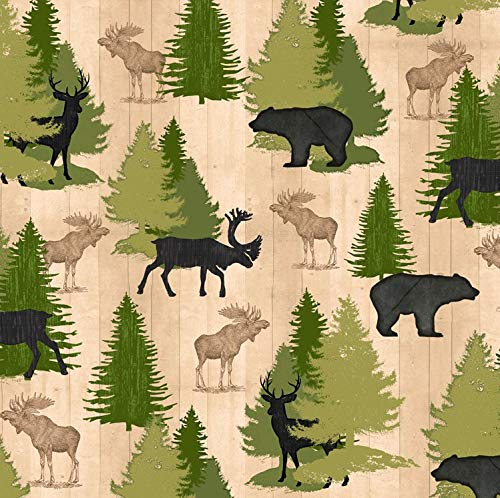 Moose Trail Lodge - Wildlife Fabric Moose Trail Lodge with Trees in Ivory from Quilting Treasures 100% Premium Quality Cotton Fabric by The Yard